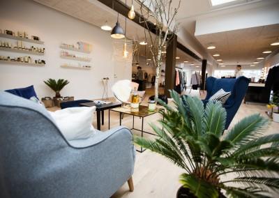 Vores loungeområde i butikken